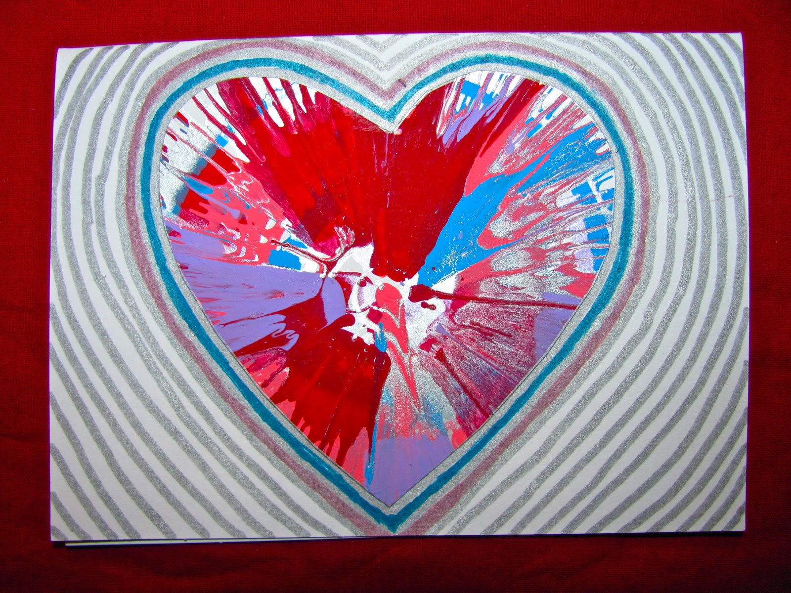 spin art valentines card